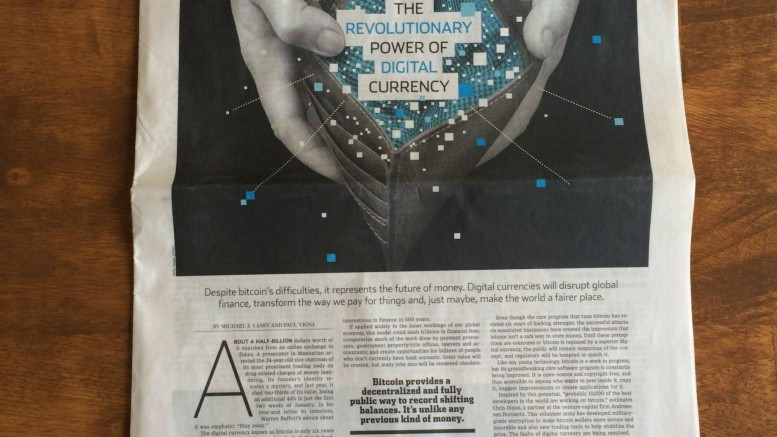 Portada Wall Street Journal criptomonedas bitcoin 23 enero 2015