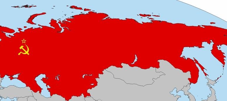 Mapa Union Sovietica con bandera sovietica