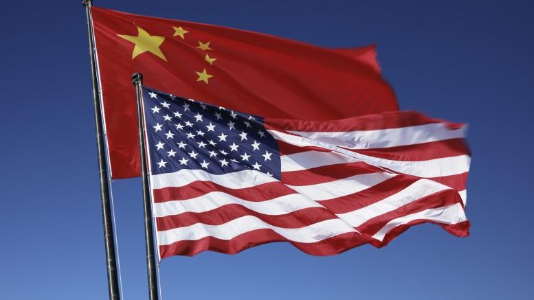 Banderas China y Estados Unidos EEUU