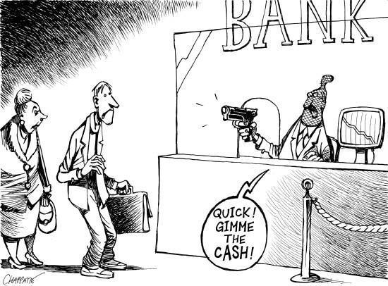Caricatura de banco robando a clientes
