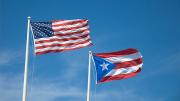 Bandera Puerto Rico y Estados Unidos