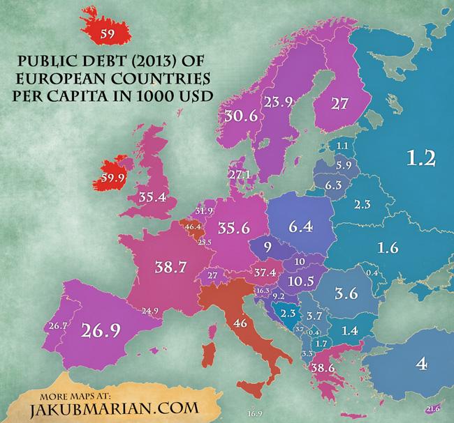 Mapa Deuda publica per capita en Europa en miles de dolares 2013