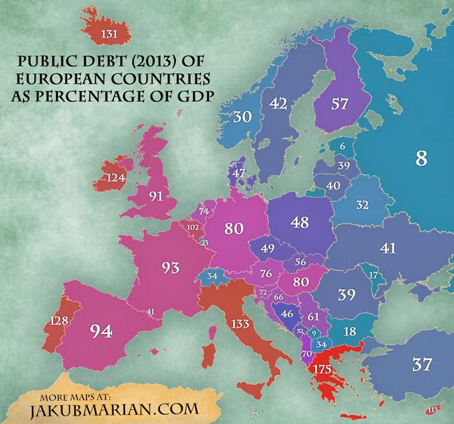 Mapa Deuda publica sobre PIB en Europa 2013