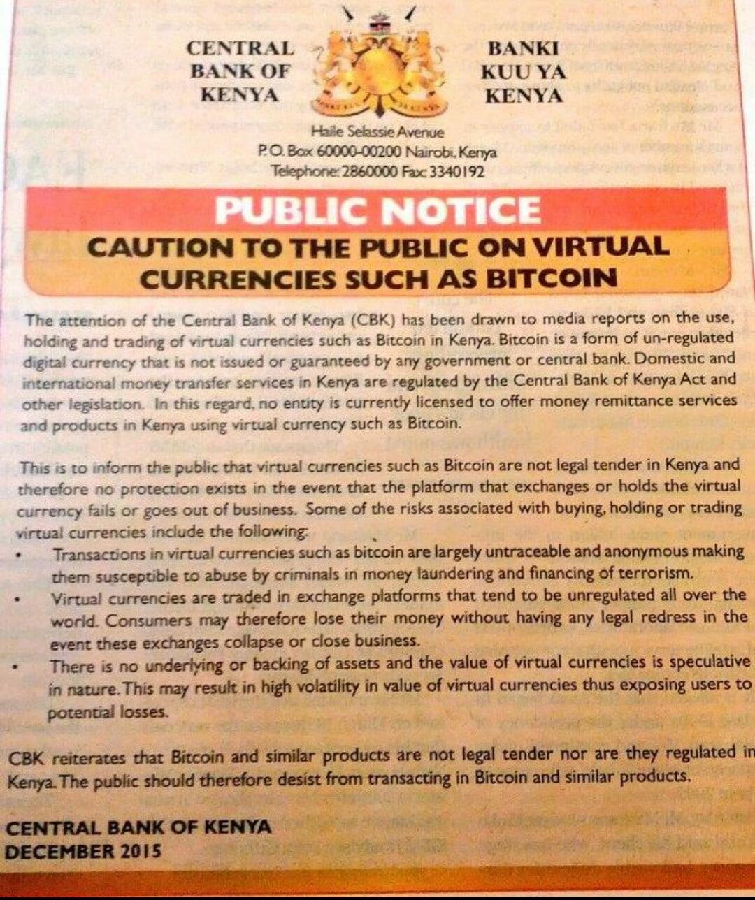 Banco Central Kenia Bitcoin