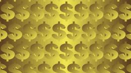 Simbolo dolar con fondo dorado