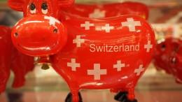 Vaca con bandera de Suiza