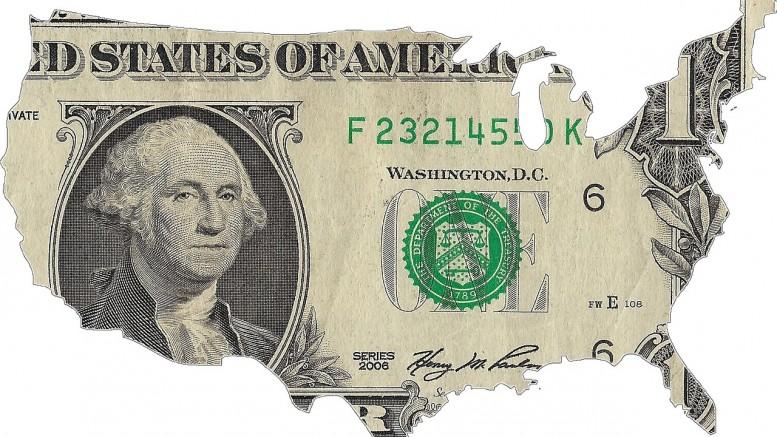 Billete de un dolar con forma geografica de Estados Unidos