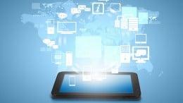 Tablet con mundo y aplicaciones