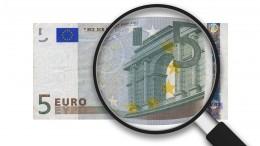 Billete 5 euros con lupa