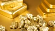 Lingotes de oro con pepitas