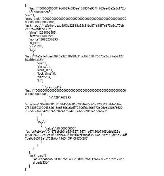 Datos del bloque genesis de Bitcoin