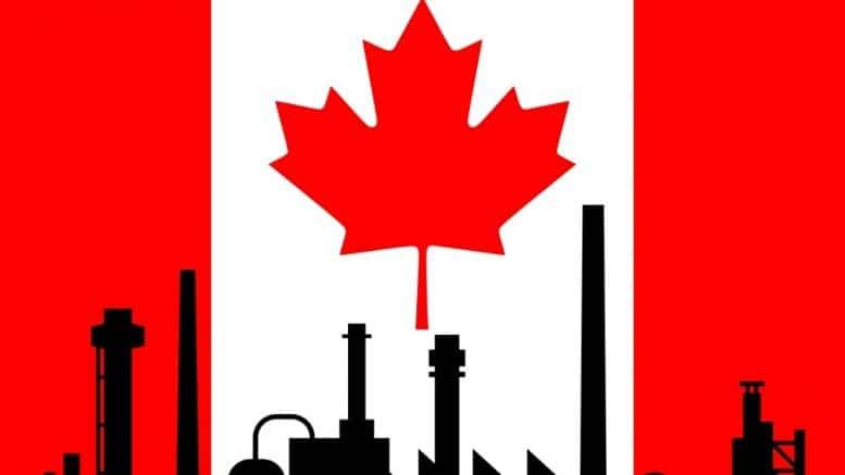 Bandera de Canada con imagnes de fabricas