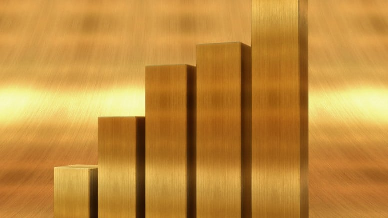 Barras doradas en grafica alcista