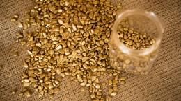 Pepitas de oro y un vaso