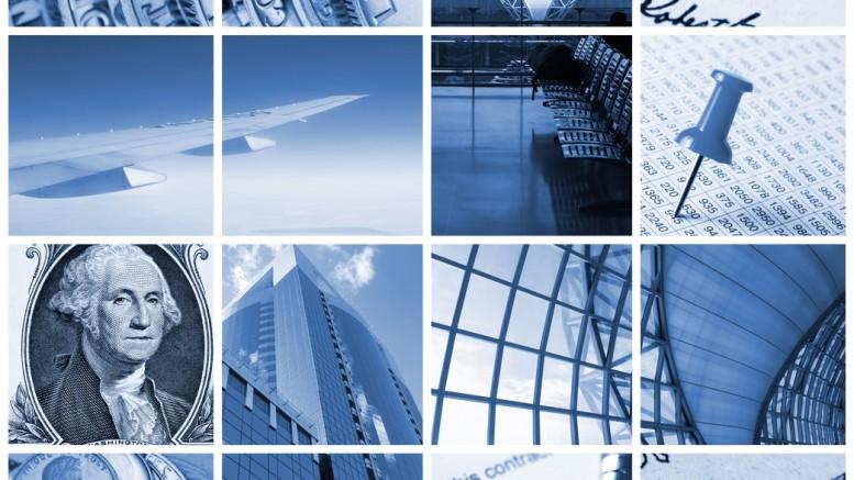 Collage de dolares y viajes