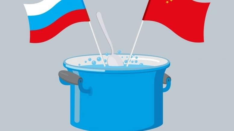Banderas de China y Rusia en cazuela