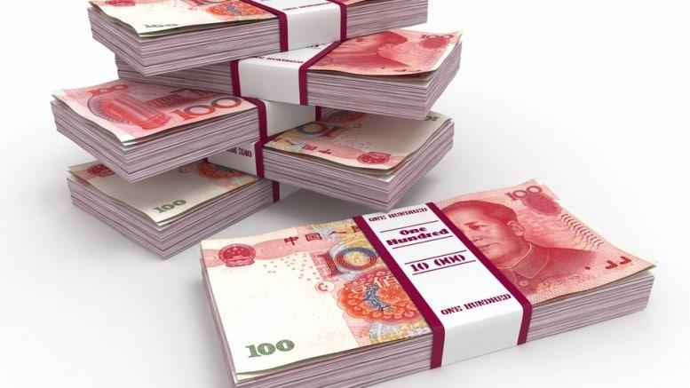 Paquetes de billetes de yuanes