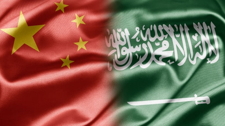 Bandera de China y Arabia Saudi