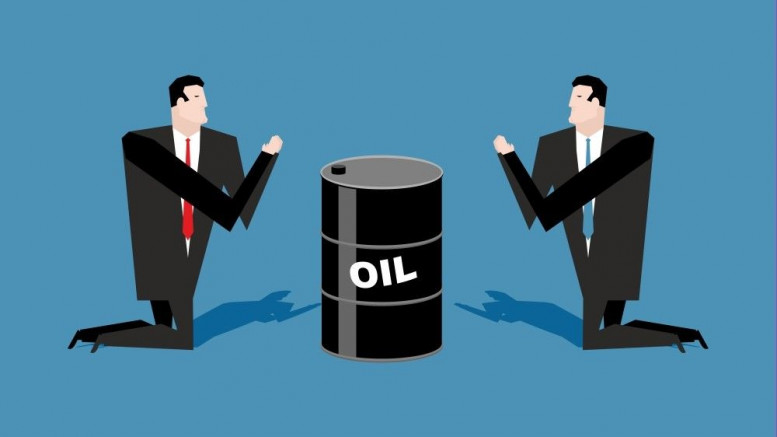 Dos hombres rezandole a un barril de petroleo
