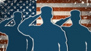 Bandera de EEUU con soldados
