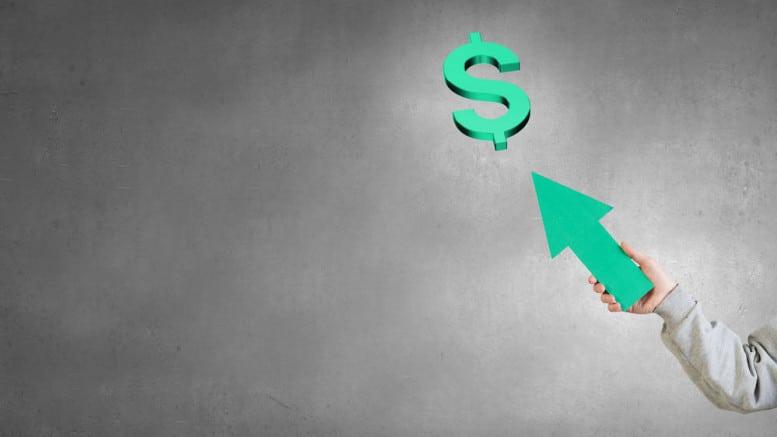 Dolar con flecha subiendo