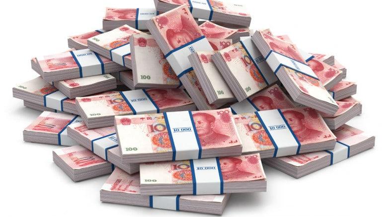 Montana de billetes de 100 yuanes